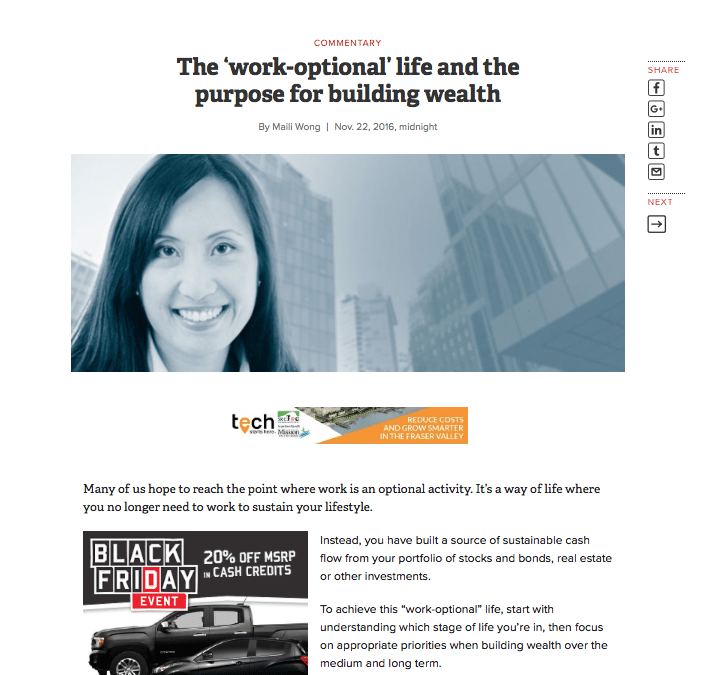 Featured Writer in Business in Vancouver: Maili Wong shares about building a work-optional life